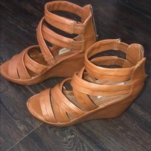 Shoes - Brown wedge heels.